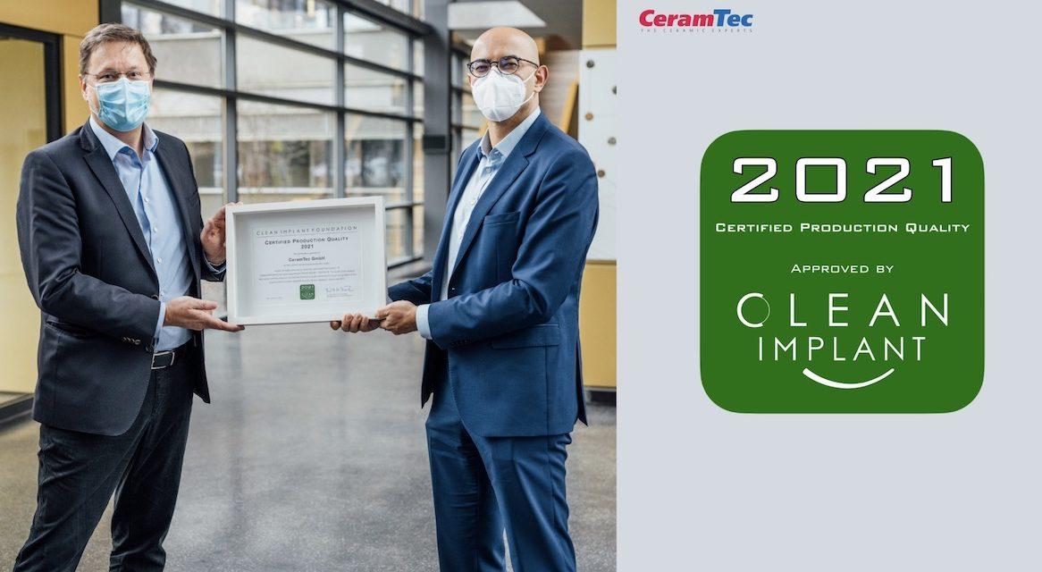 CeramTec: Neue Auszeichnung für hohen Produktionsstandard  von keramischen Zahnimplantaten