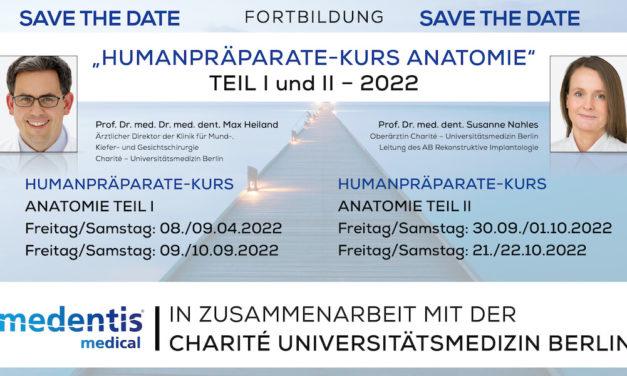 "medentis und Charité Universitätsmedizin Berlin: ""Humanpräparate-Kurs Anatomie 2022"""